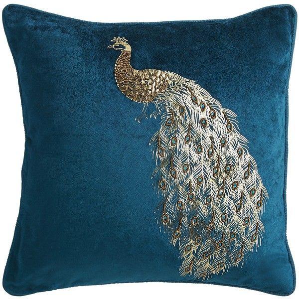 Pier 1 Imports Teal Midnight Velvet Beaded Peacock Pillow 28