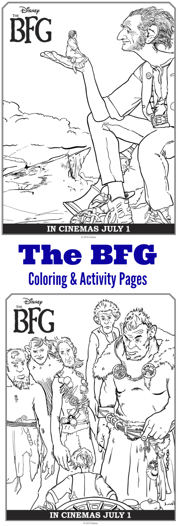 Disney's The BFG Coloring Pages and Activity Pages including a Gobblefunk dictionary.