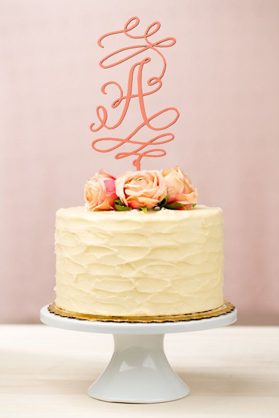 Monogram Wedding Cake Topper Coral by betteroffwed on Etsy, $35.00 ...