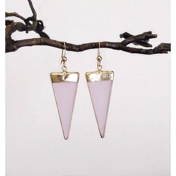 Long GoldEdged Pink Sea Glass Triangle Earrings by CJCjeweldesigns, $89.00
