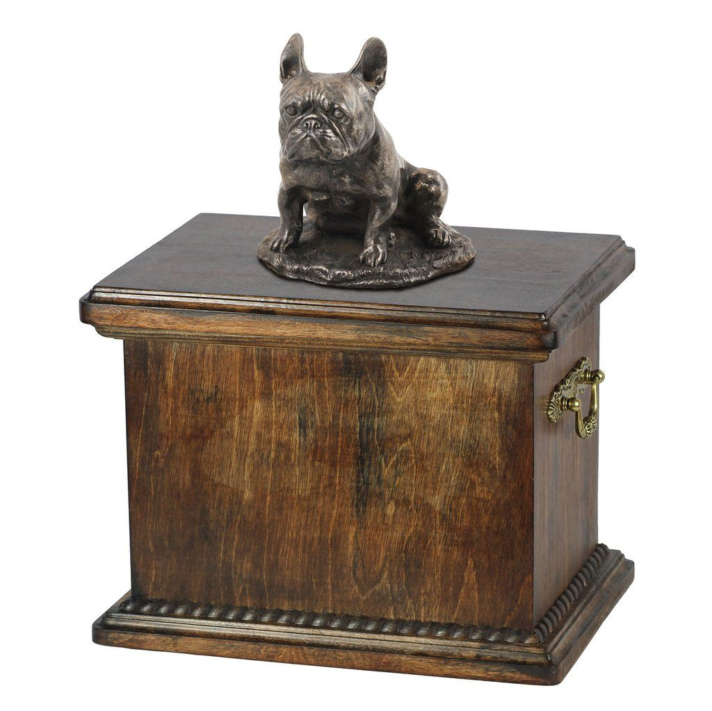 Solid Wood Casket French Bulldog Sitting Urn for Dog's