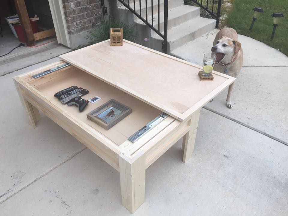 Made A Coffee Table With A Sliding Top In 2020 Coffee Table