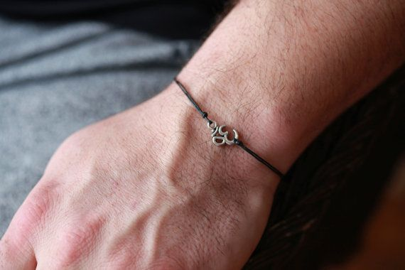 Sterling Silver Om Bracelet Men S With Tibetan Charm Hindu Symbol For Gift Him Yoga Buddhist
