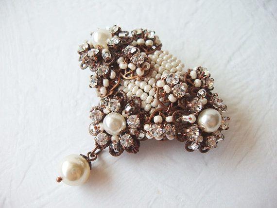 Beaded Bridal Brooch with Rhinestones & Pearls 3 by mdmButiik