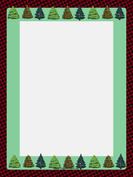 decorated green christmas trees are set against a houndstooth winter holiday border free to download and print
