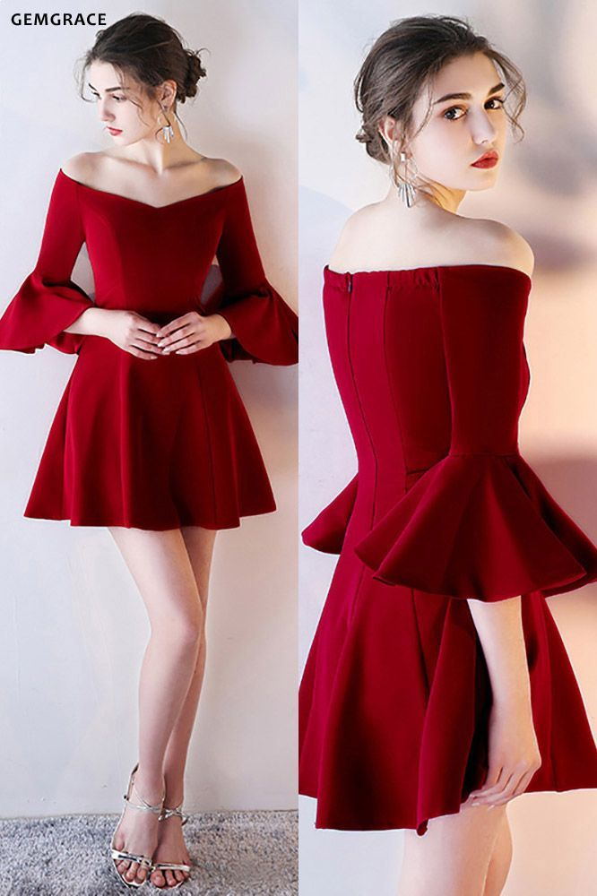 Gorgeous Burgundy Off Shoulder Homecoming Dress Short with ...