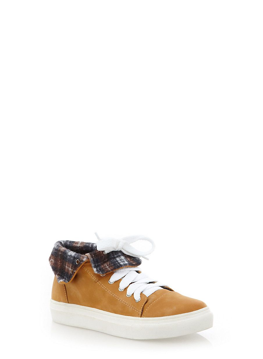 Fold Over Faux Nubuck Sneakers - Rainbow - 1114055075362