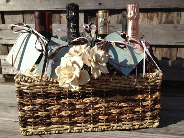 Wine Gifts For Wedding: Cute Bridal Shower Or Wedding Gift- Wine Basket With A