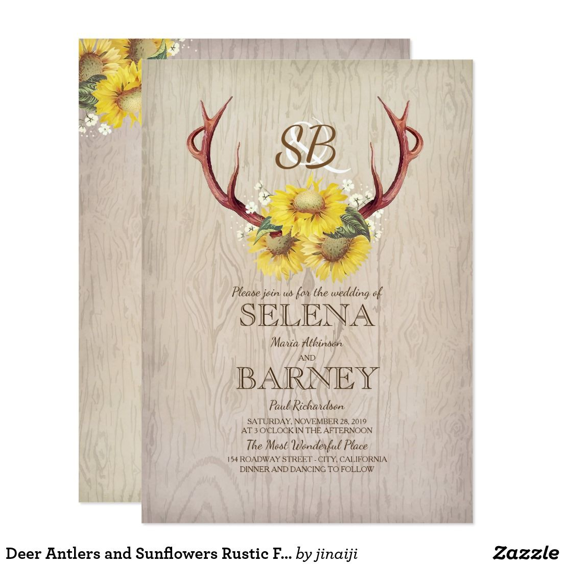 Deer Antlers And Sunflowers Rustic Fall Wedding Card Ash