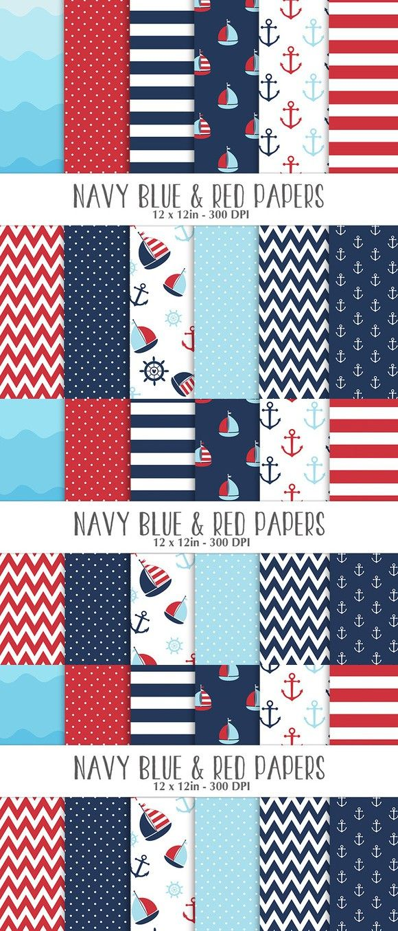 Nautical Navy, Red and Blue Papers