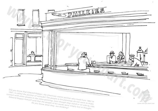 Edward Hopper Coloring Pages Color You Smart Dalet Ideas