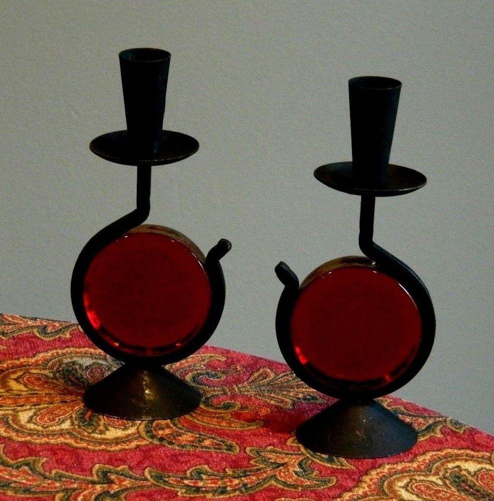 Fabulous mid century modern iron candleholders w ruby red glass