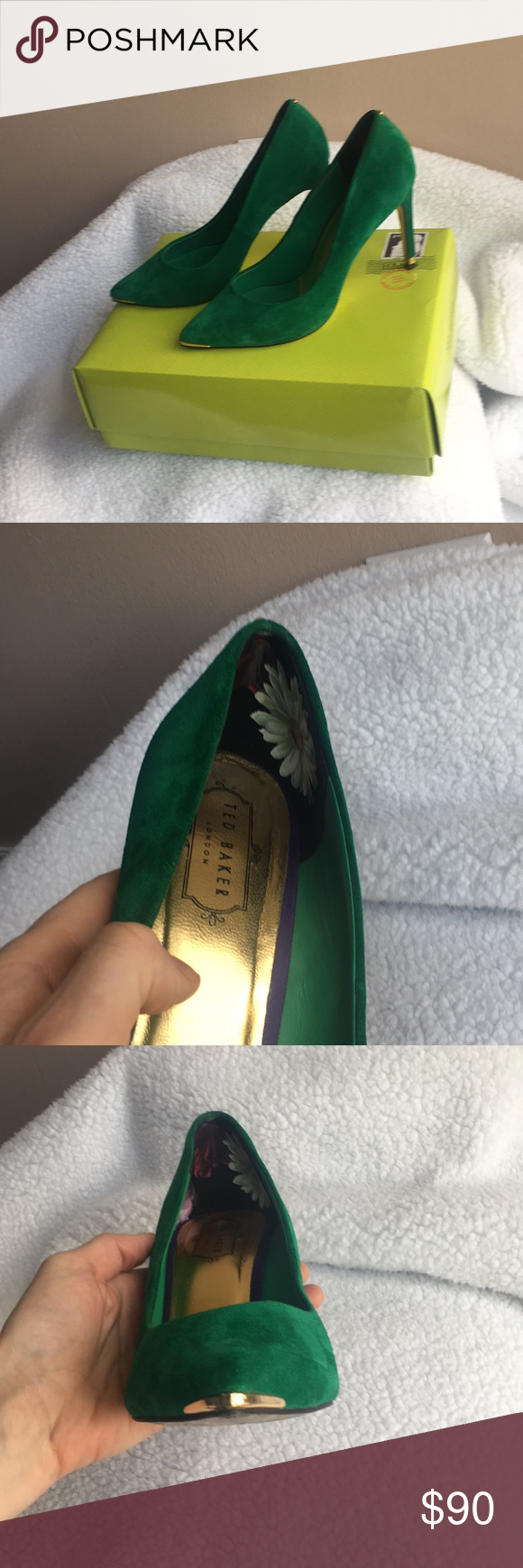 d0d43596ac3242 Lime green Ted Baker stilettos Lime green suede Ted Baker stilettos with  gold accent on toe and base of heel. In box. Good condition worn only twice.