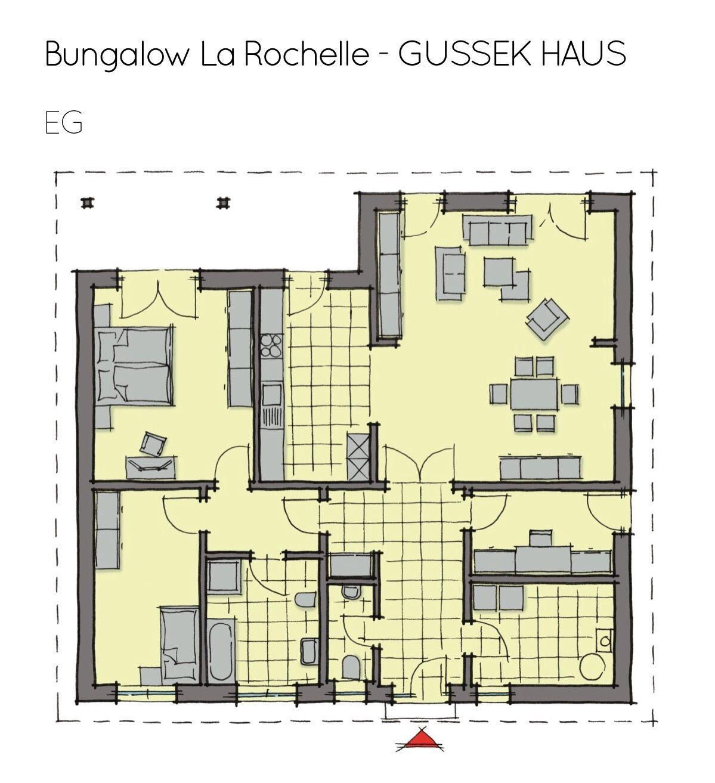 Bungalow Haus Grundriss ebenerdig mit Walmdach Architektur