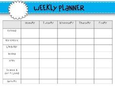 Weekly Lesson Planning Templates Morning Choices After Nap
