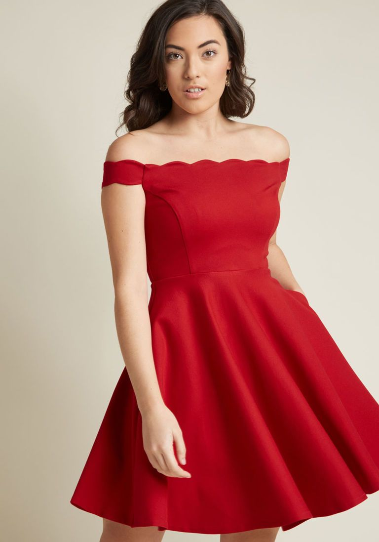 2fe4b71328 Ponte Knit Skater Dress with Off-Shoulder Trim in 3X - Off The Shoulder  A-line Mini by ModCloth