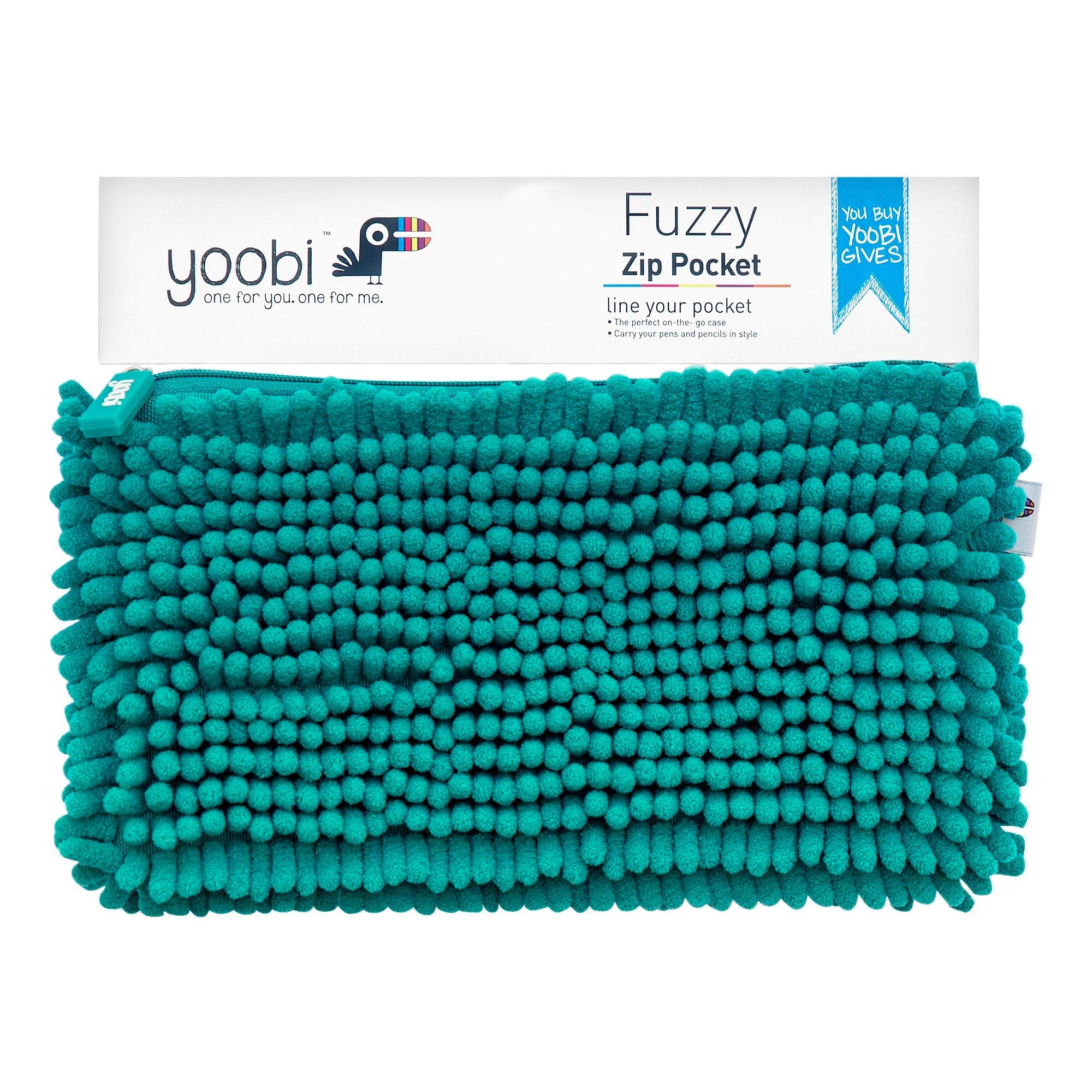 Yoobi Fuzzy Pocket Pencil Case Aqua Purple Products School