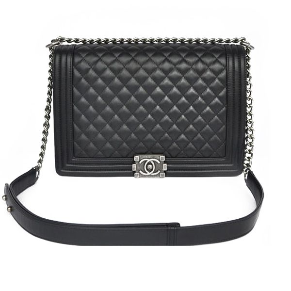 5f178b6d16e3 Chanel Boy Chanel Handbags Large This bag is made from high-grade Lambskin.  This prada bag at Black color is eye-catching and suitable for your style.