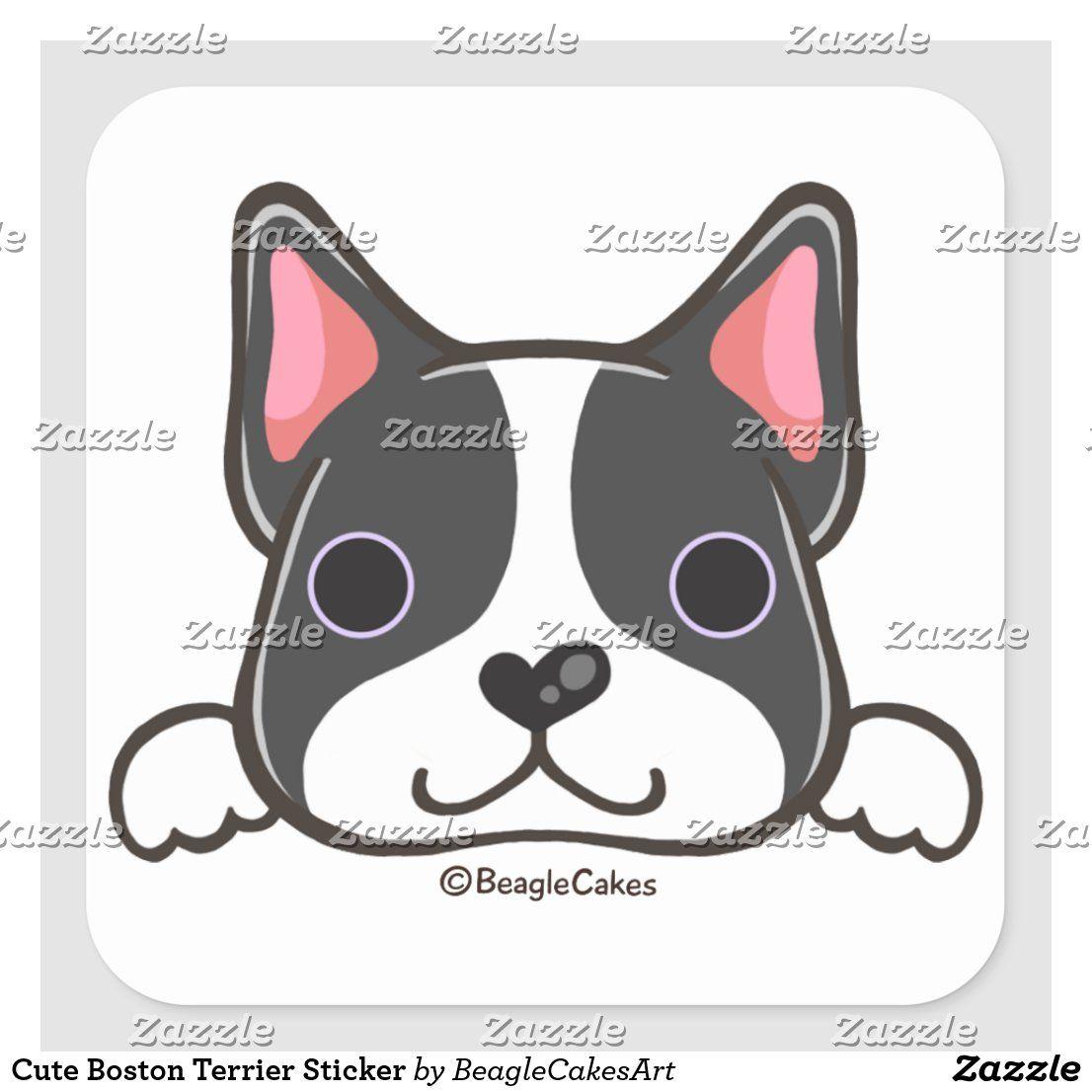 Cute Boston Terrier Sticker Zazzle Com In 2020 Dog Coloring Page Cute Animal Illustration Boston Terrier Illustration