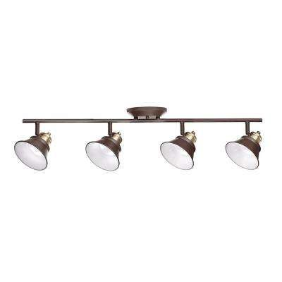 Glasgow 31 in oil rubbed bronze and antique brass integrated led oil rubbed bronze and antique brass integrated led track lighting kit mozeypictures Gallery