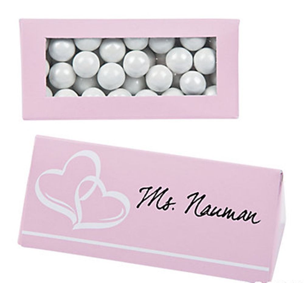 50 LIGHT PINK Seating Name Place Cards Candy Window Boxes Bridal ...