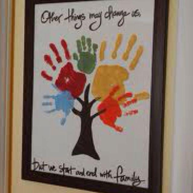 Handprint family tree art crafts basteln handabdruck kinder - Stammbaum basteln mit kindern ...