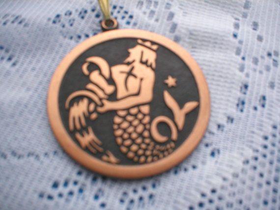 Vintage Solid Copper Pendant Triton Myth Neptune Unique Vintage Jewelry