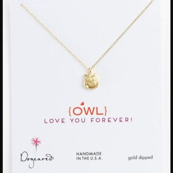 """Dogeared """"Owl Love You Forever"""" necklace Gently loved!  Purchased from Nordstrom but don't have the original box anymore.  There's more than one way to say, 'I love you!' - and with the Dogeared Love Collection, you can say it with style! Whoooo (whoooo) could possibly resist this adorable owl charm necklace? After all, love is 'owl' you need!   * 46cm (18 inch) gold filled fine chain * 9mm gold dipped cute owl charm * spring ring closure * handcrafted in california Dogeared Jewelry…"""
