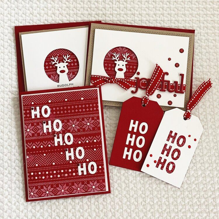 Christmas cards tags using cz designs stamps and dies