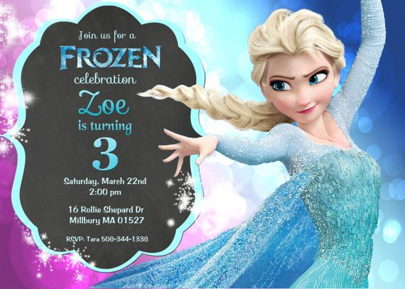 Disney Frozen Movie Princess Elsa Birthday Party Invitation