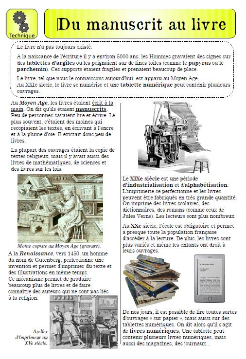 Texte Documentaire Du Manuscrit Au Livre Docs Divers Et Utiles Pour L Ecole Livre Geographie Ecole