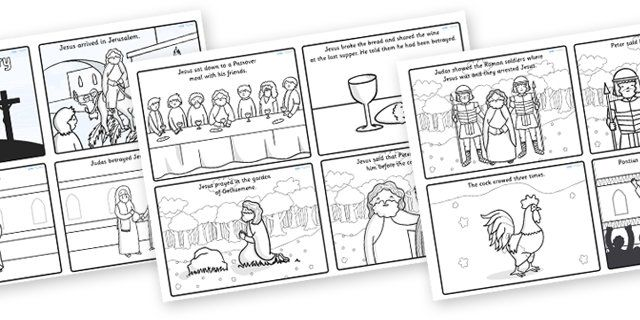 The easter story sequencing cards free on twinkl in colour and black and white