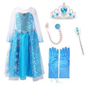 uraqt la reine des neiges elsa costume et accessoires gants couronne baguette tresse robe longue deguisement pour fille - Gants La Reine Des Neiges