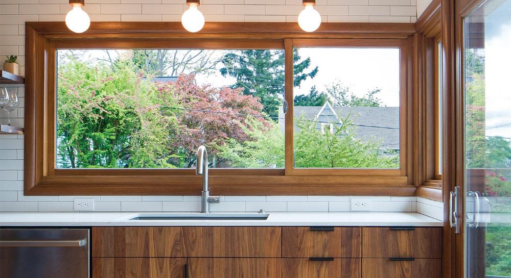 Milgard Essence Series Wood Offset Horizontal Sliding Window Wood Interior Fiberglass Ext And Sliding Window Design Wood Clad Windows Kitchen Window Design