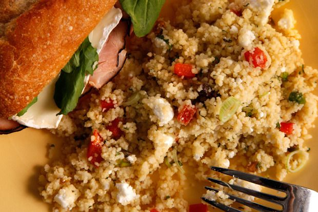 Mediterranean Couscous Salad by Chow. This healthy couscous salad recipe has a zippy hummus dressing mixed in with red bell pepper, pistachios, mint, and feta cheese.