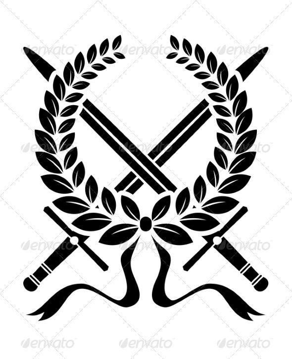 Victory Wreath With Crossed Swords Wreath Drawing Sword Logo Symbol Design
