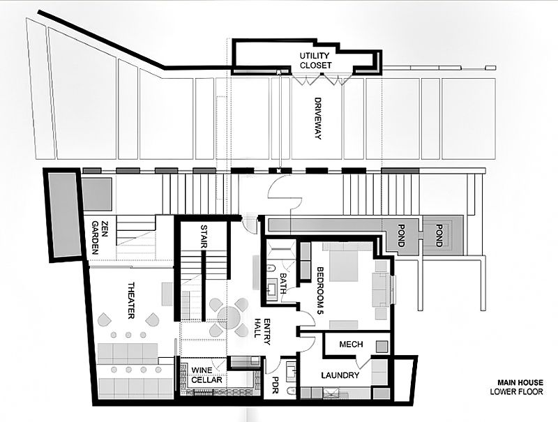 Main House Lower Floor Plan 1201 Laurel Way Residence Beverly Hills Ca Usa In 2020 Modern Mansion Luxury House Floor Plans Modern House Design