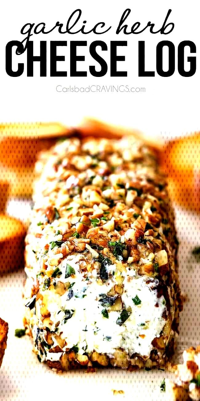 10 Minute prep creamy, savory Garlic Herb Goat Cheese Log is the EASIEST yet most impressive appeti