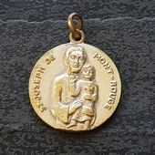 Large Vintage St Joseph de MontRouge medal pendant souvenir from Puimisson Herault by MarieLouisette now at 2UEyaKW