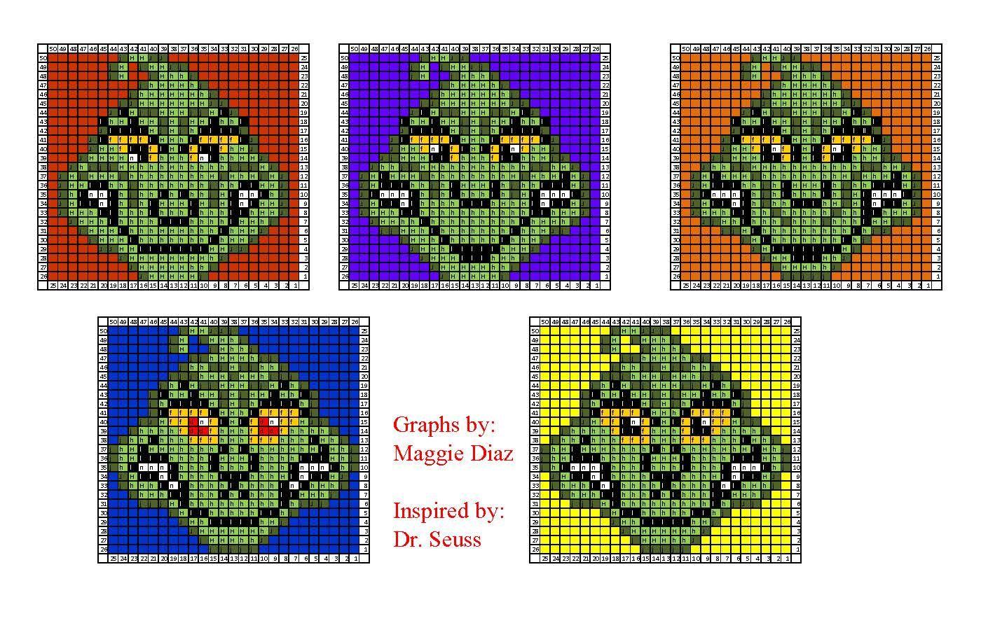 Dr Seuss Grinch Graph Perler Bead Pattern