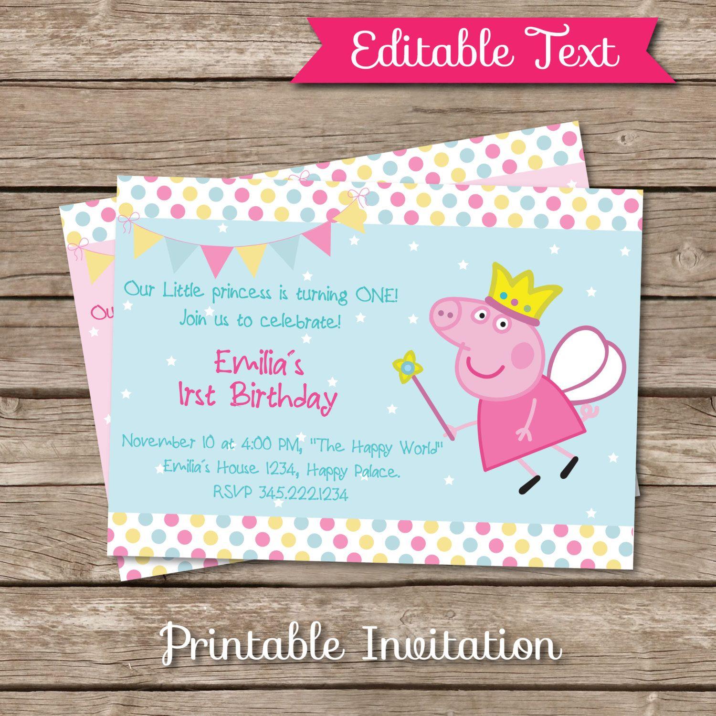 Fairy Peppa Pig, Peppa Pig inspired Printable Invitation, EDITABLE ...