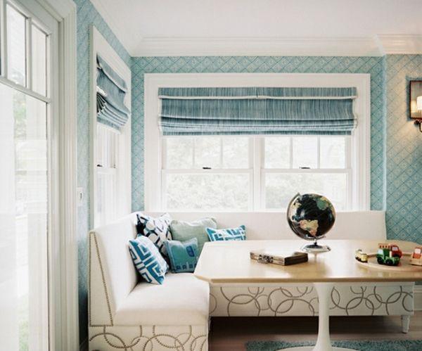 blau-weiße-Küche-gemütliche-Sitzecke-gestalten Sitzecke - einrichtungsideen sitzecke in der kuche