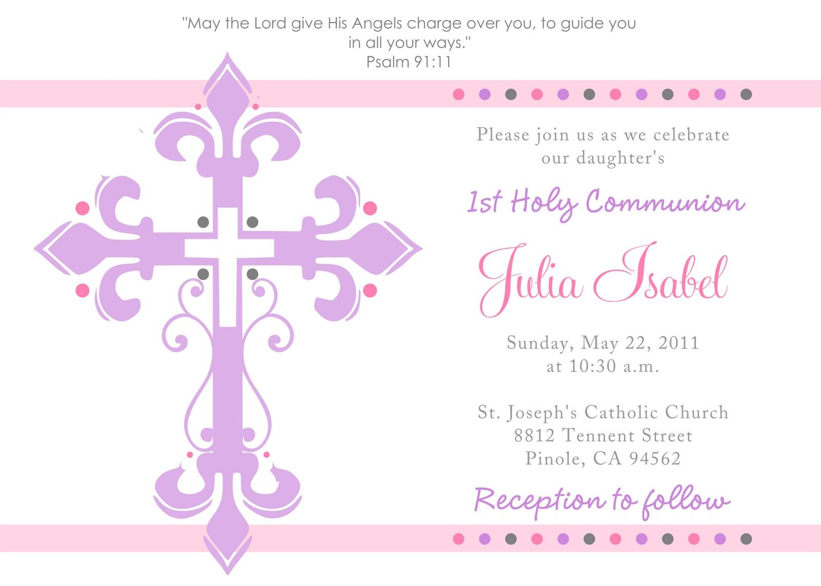 First Holy Communion Invitations Templates