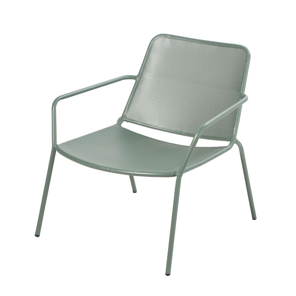 Fauteuil Bas De Jardin En Metal Vert Sun Lounger Cushions