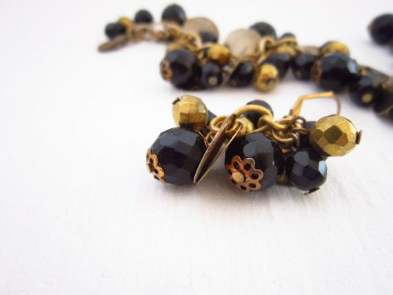 Set Bracelet and Earrings in Black Gold chain by JewelryNeshElly, $18.00