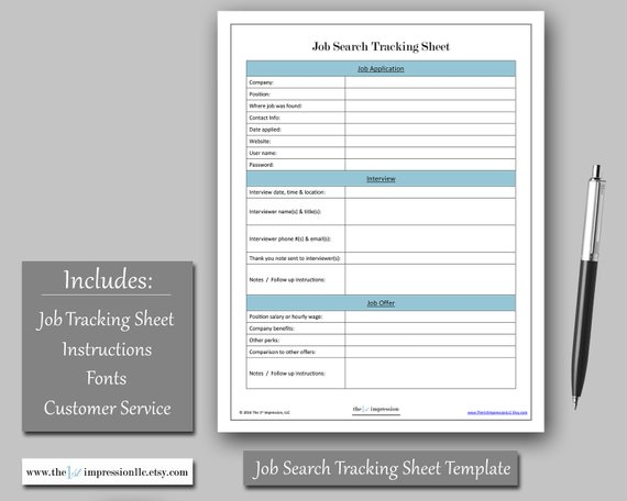 job search tracking sheet template