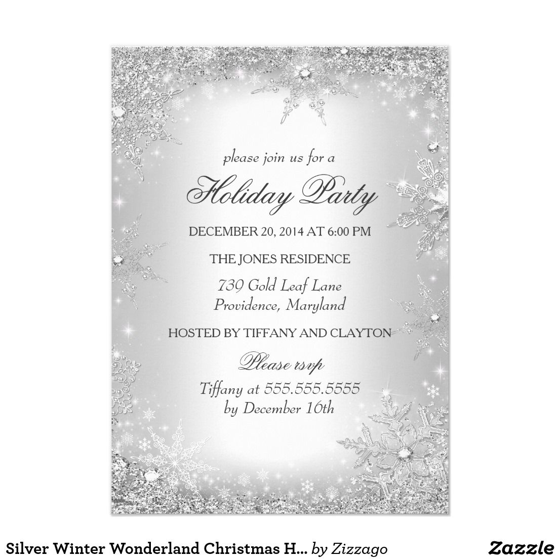 Silver Winter Wonderland Christmas Holiday Party Card | Winter ...