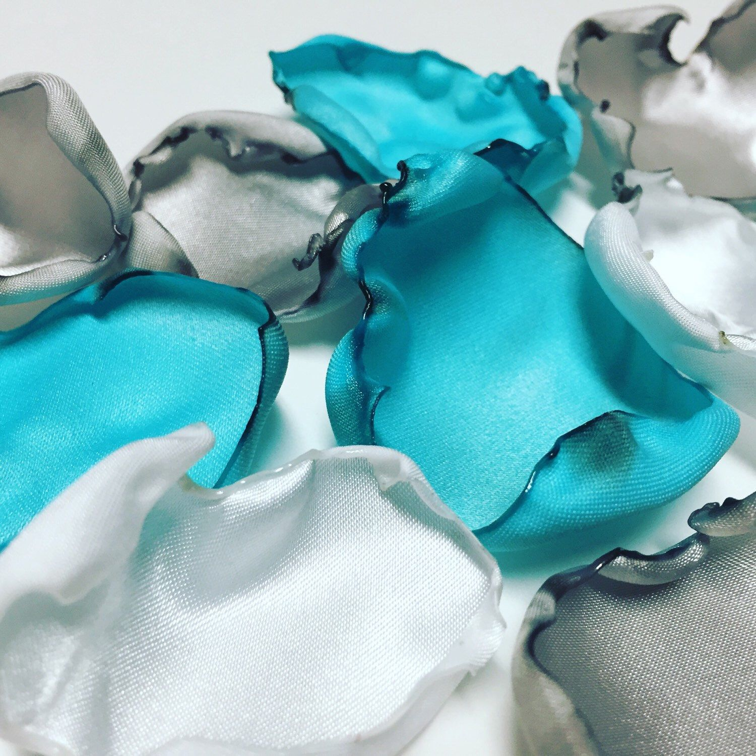 New color combo flower petals https://www.etsy.com/listing/271411652/turquoise-white-and-grey-mix-flower #wedding #flowergirls #bride #weddingplanner