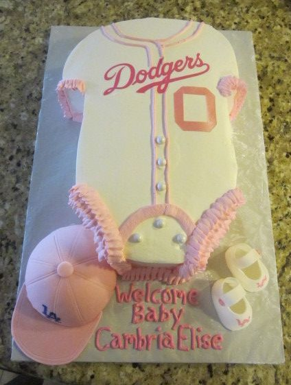 Go Dodger Pink For A Baby Shower Hat And Shoes Are Edible Fondant