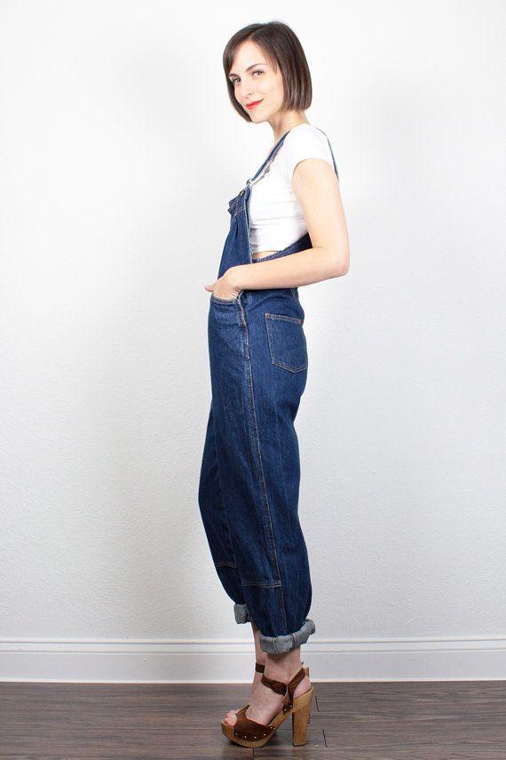 e22cb0baacfb Vintage Denim Overalls Dark Denim Dungarees Blue Jeans Jumper Tapered Leg Jeans  Overalls Skinny Fit Pant